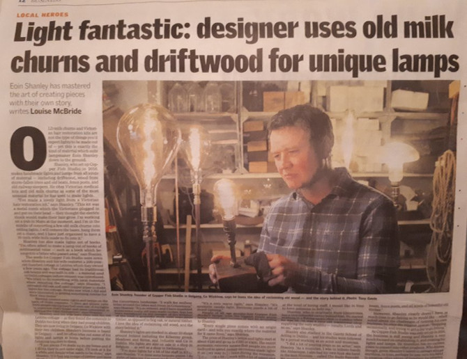 Light fantastic: designer uses old milk churns and driftwood for unique lamps Eoin Shanley has maste