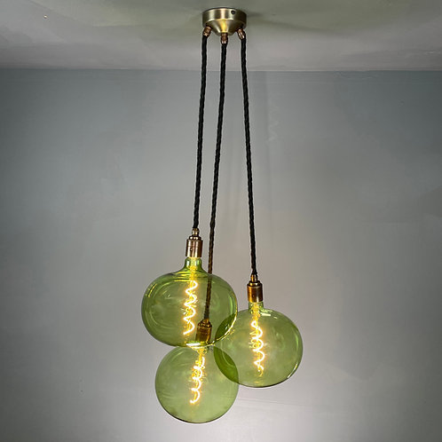 3 Drop Pendant with Giant Fern Green Bulbs