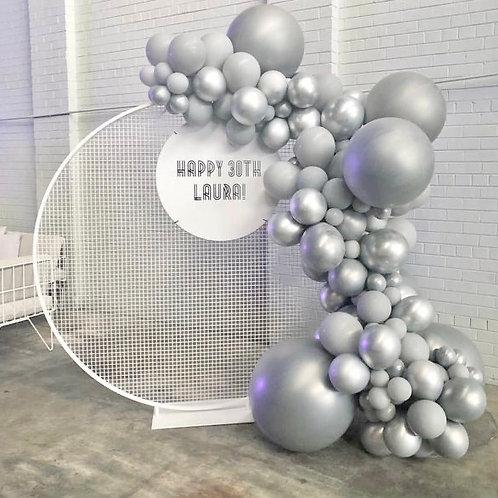 Round white metal grid circle