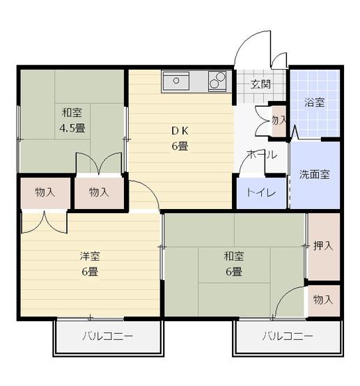 間取り_グレセント中央_101・201号室&103・203号室.