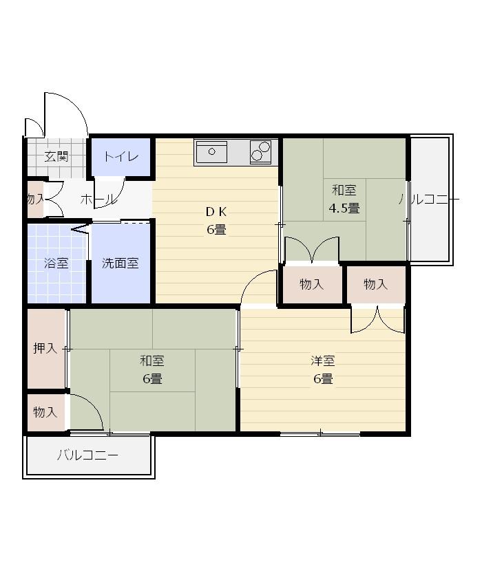 間取り_グレセント中央_102・202号室.