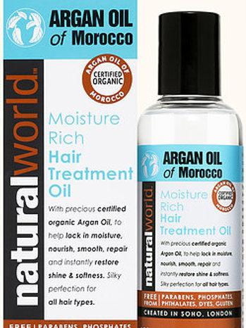 NATURAL WORLD (英國)  MOROCCO ARGAN HAIR TREATMENT OIL 摩洛哥堅果護髮髻油 100ml