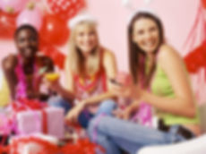 three young women at bachelorette party