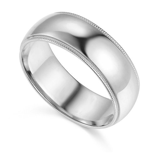 14k White Gold 7-mm Comfort-fit Milgrain and polished Wedding Band
