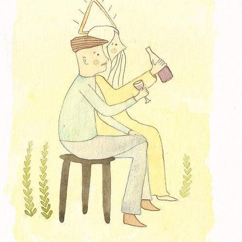 Le grappilleur (carte postale)