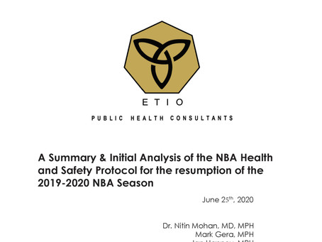 A Summary & Initial Analysis of the NBA Health and Safety Protocol for the resumption of the 2