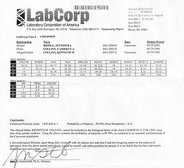 copy of lab results from paternity test