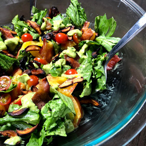 BLT Summer Salad with Avocado Basil Dressing (gluten free, vegan optional)