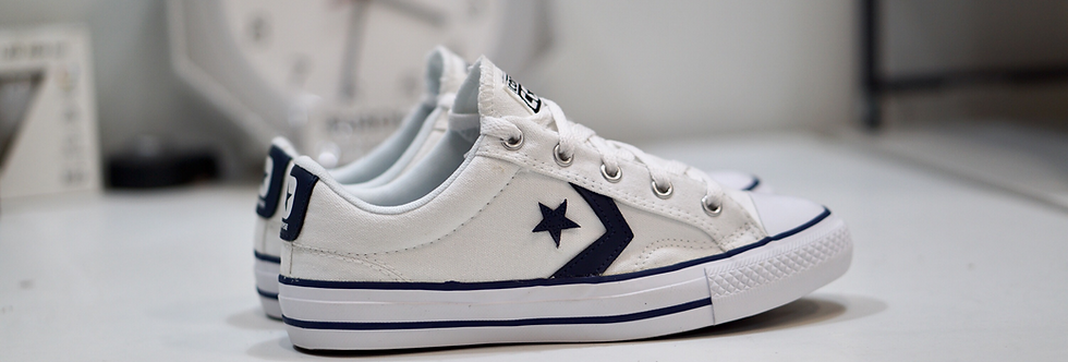 "Converse Star Player ""White-Navy"""