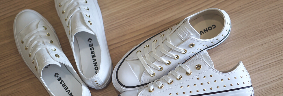 "Converse All Star Leather Stud ""Golden Pins"""
