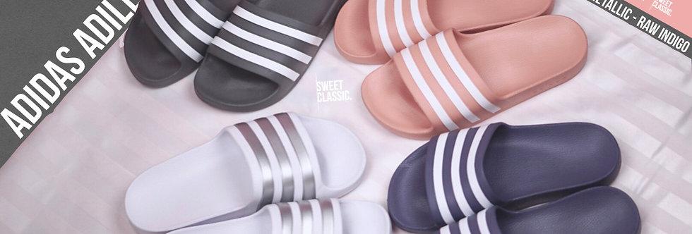 """adidas adilette Aqua """"Dusk Pink / White-Silver Met / Grey three / Raw Indigo"""""""