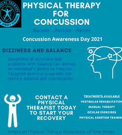NJ Concussion Awareness Day 2021 - PTs are part of your concussion management team! #NJPT4Concussion