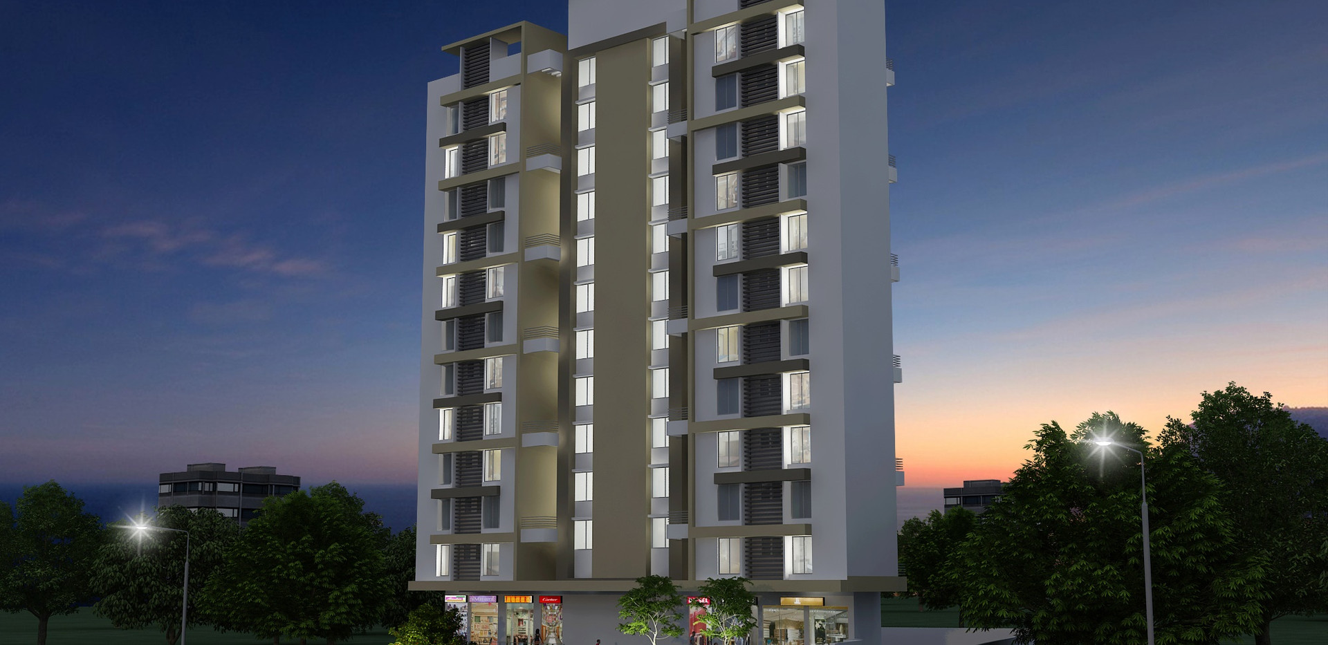 Yash Rhythm Elevation Night View-Kondhwa