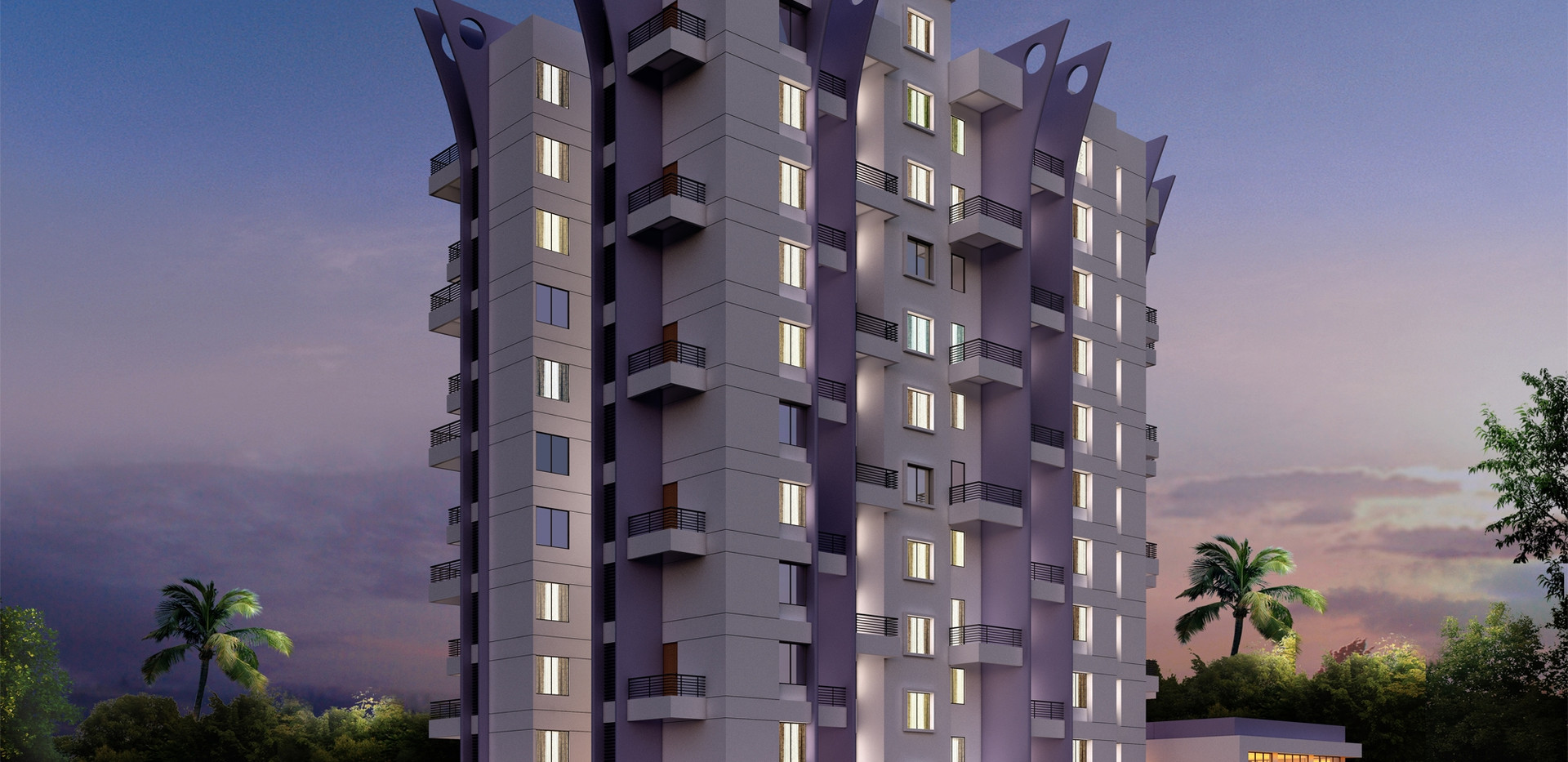 Yash Platinum F wing Elevation Night View