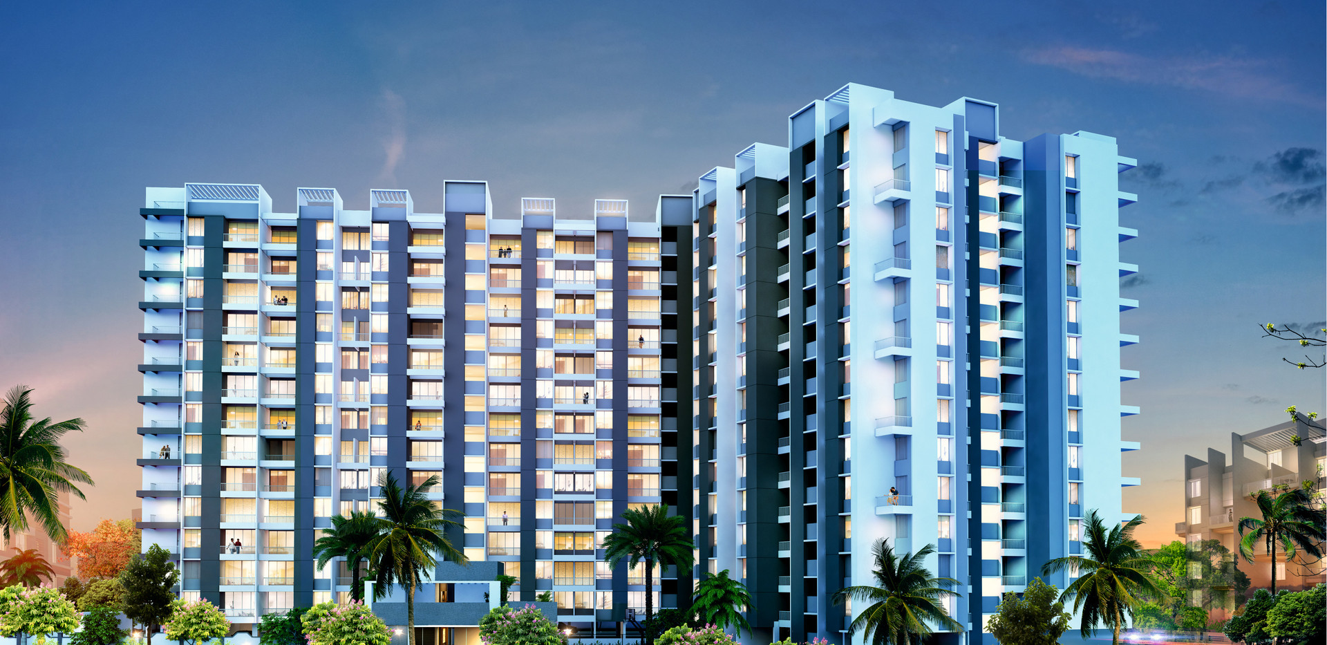 Yash Florencia Elevation Night View- Kondhwa