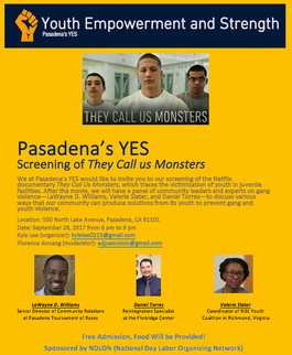 """Screening of """"They Call Us Monsters"""" and Panel"""