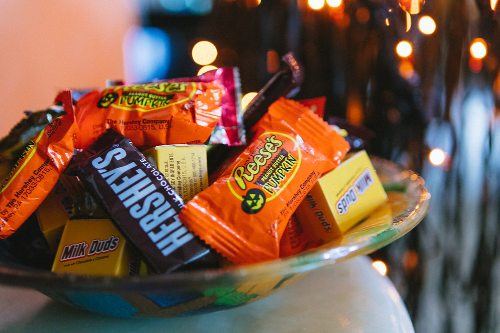 Bowl of Halloween candy for Halloween 2.0 blog post 50, Fabulous and Finally Free