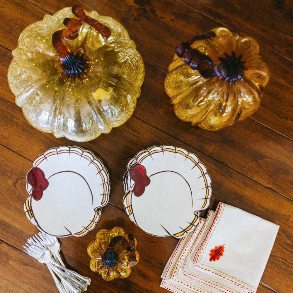 Thanksgiving plates, napkins and pumpkins, 50, Fabulous and Finally Free.com