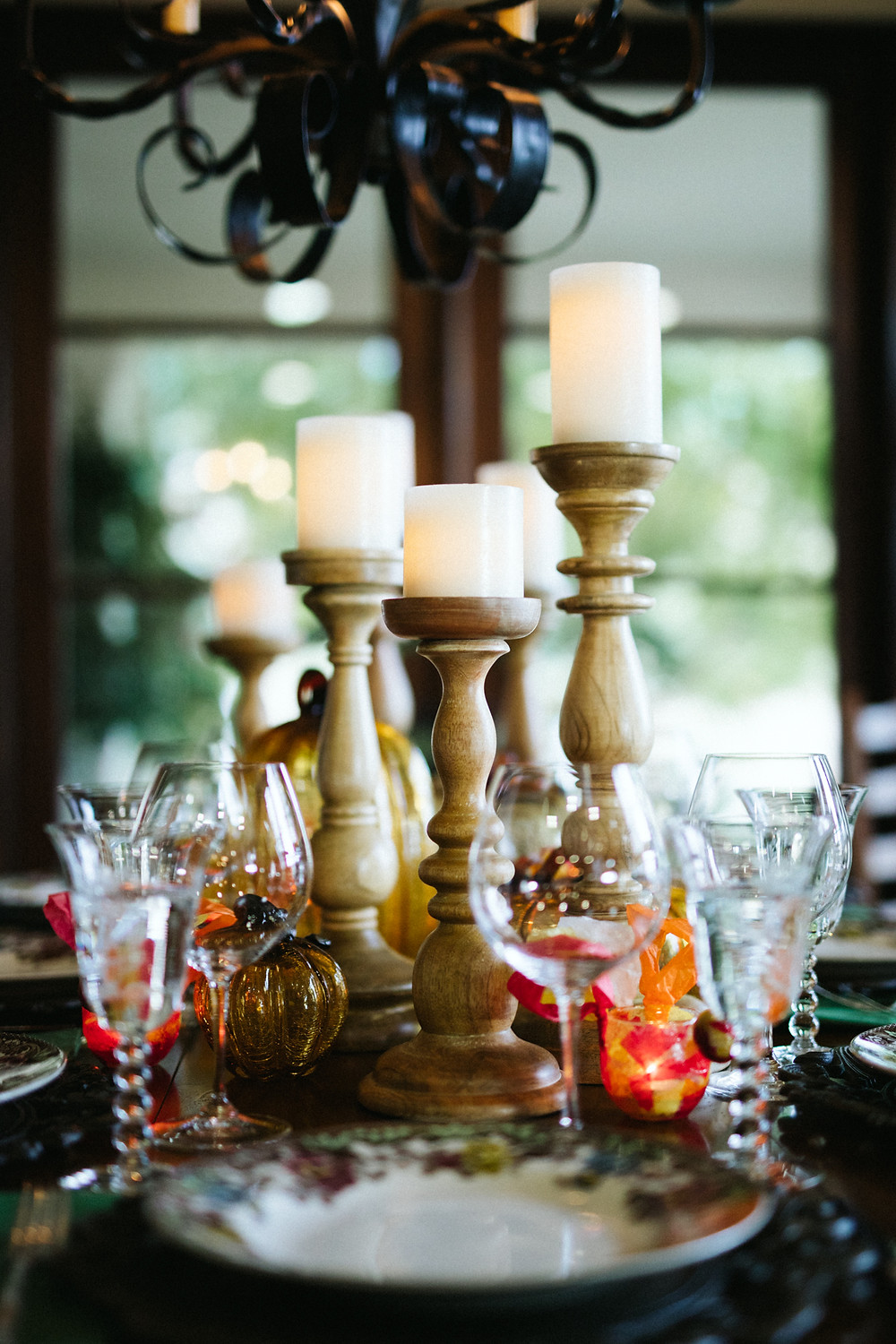Thanksgiving table with candles, 50, Fabulous and Finally Free.com