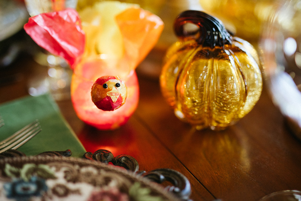 Turkey votive on table, Fifty fabulous & finally free