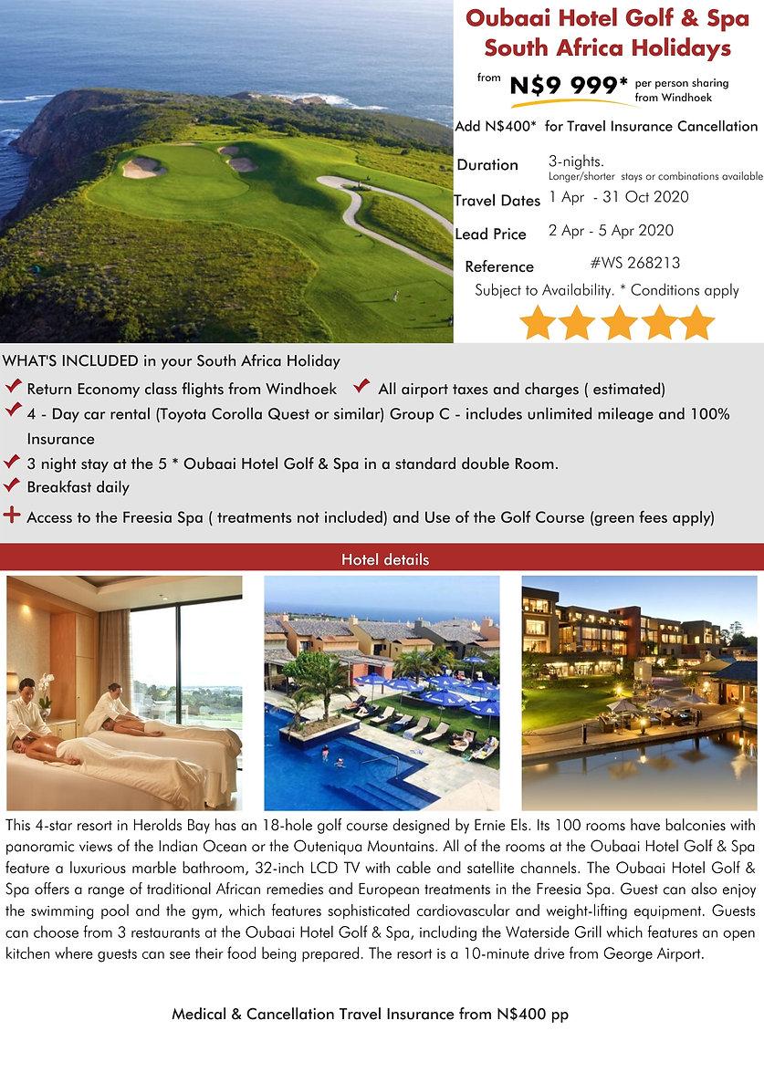 Oubaai Hotel Golf & Spa  3 Night South Africa Holidays