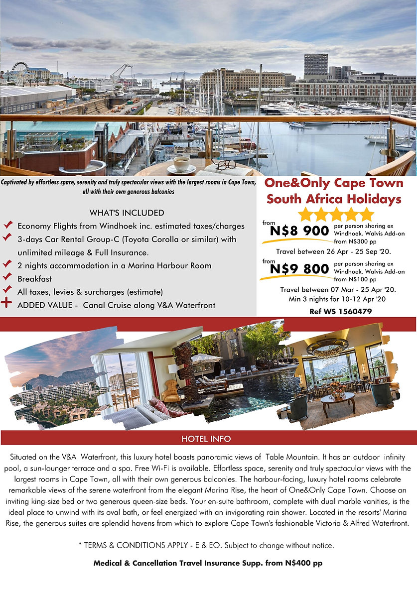 One&Only Cape Town  2 night South Africa Holidays
