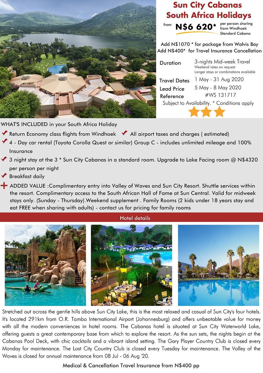 Sun City Cabanas 3 Night South Africa Holidays
