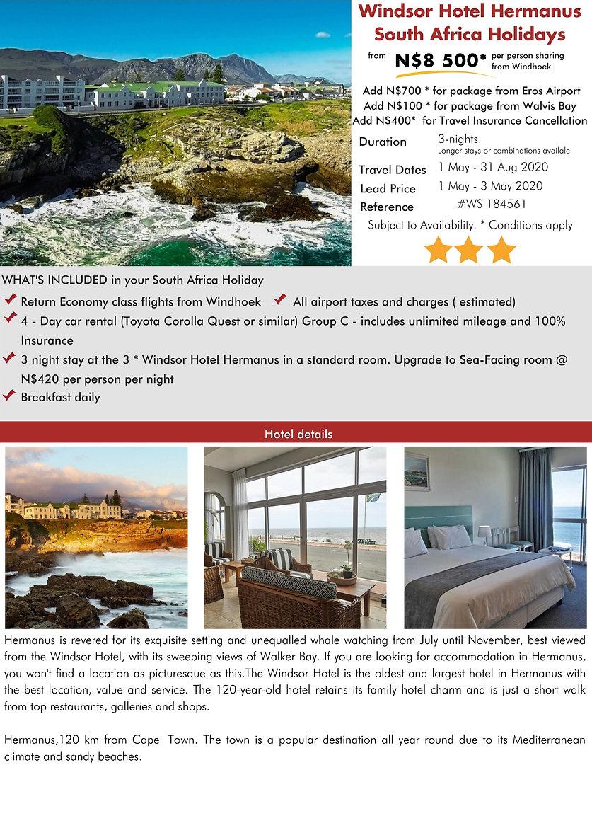 Windsor Hotel Hermanus 3 Night South Africa Holidays