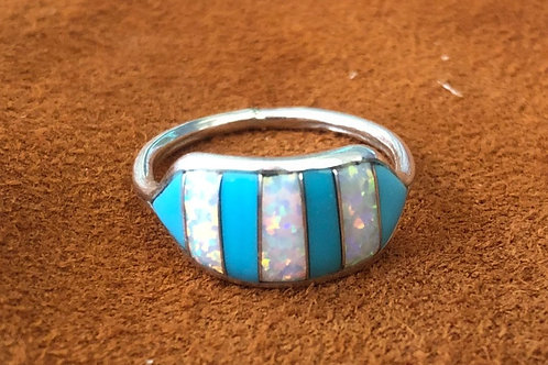 7 Stone Wide Band Zuni Ring