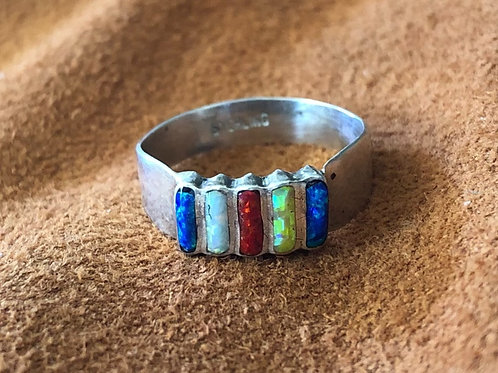 5 Stone Created Opal Multi Colored Medium Band Zuni Ring