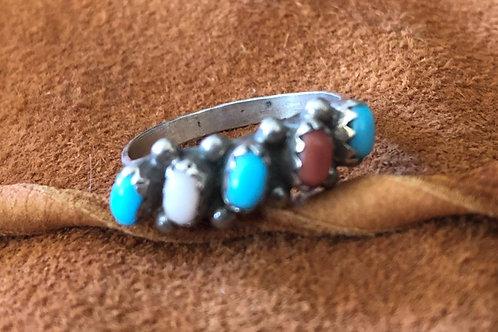 5 Stone Angle Cut Multi Colored Zuni Ring