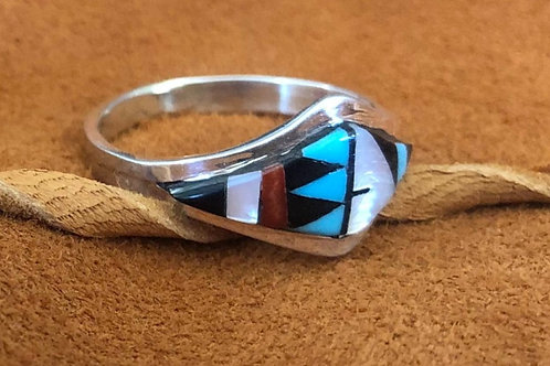 Diamond Shaped Multi Colored Zuni Ring