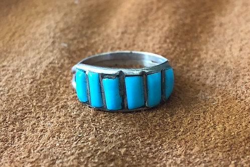 6 Stone Turquoise Medium Band Zuni Ring