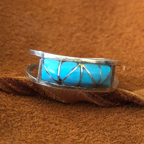Domed Triangle Cut Single Band Zuni Ring