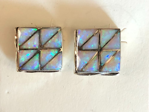 Square Created Opal Earrings