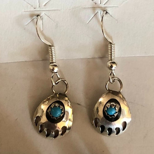 Dangle Turquoise Bear Paw Earrings