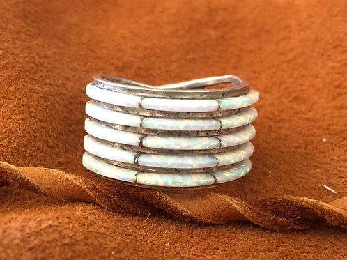 5 Layer Zuni Created Opal Ring