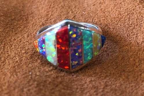 8 Stone Created Opal Big Diamond Multi Colored Zuni Ring