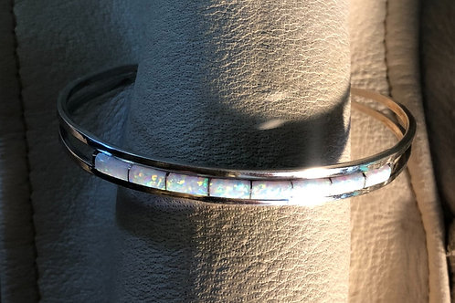 White Single Row Created Opal Bracelet
