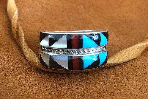 Traditional Double Banded Multi Colored Zuni Ring