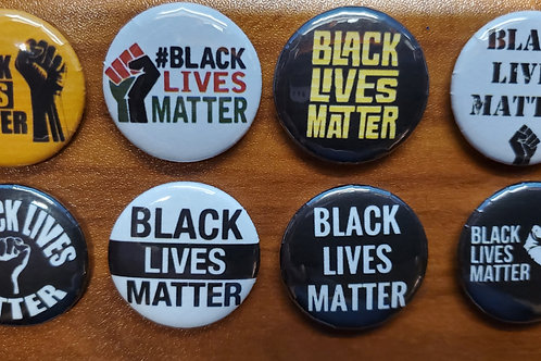 Lot of 6:  one inch BLACK LIVES MATTER pin buttons
