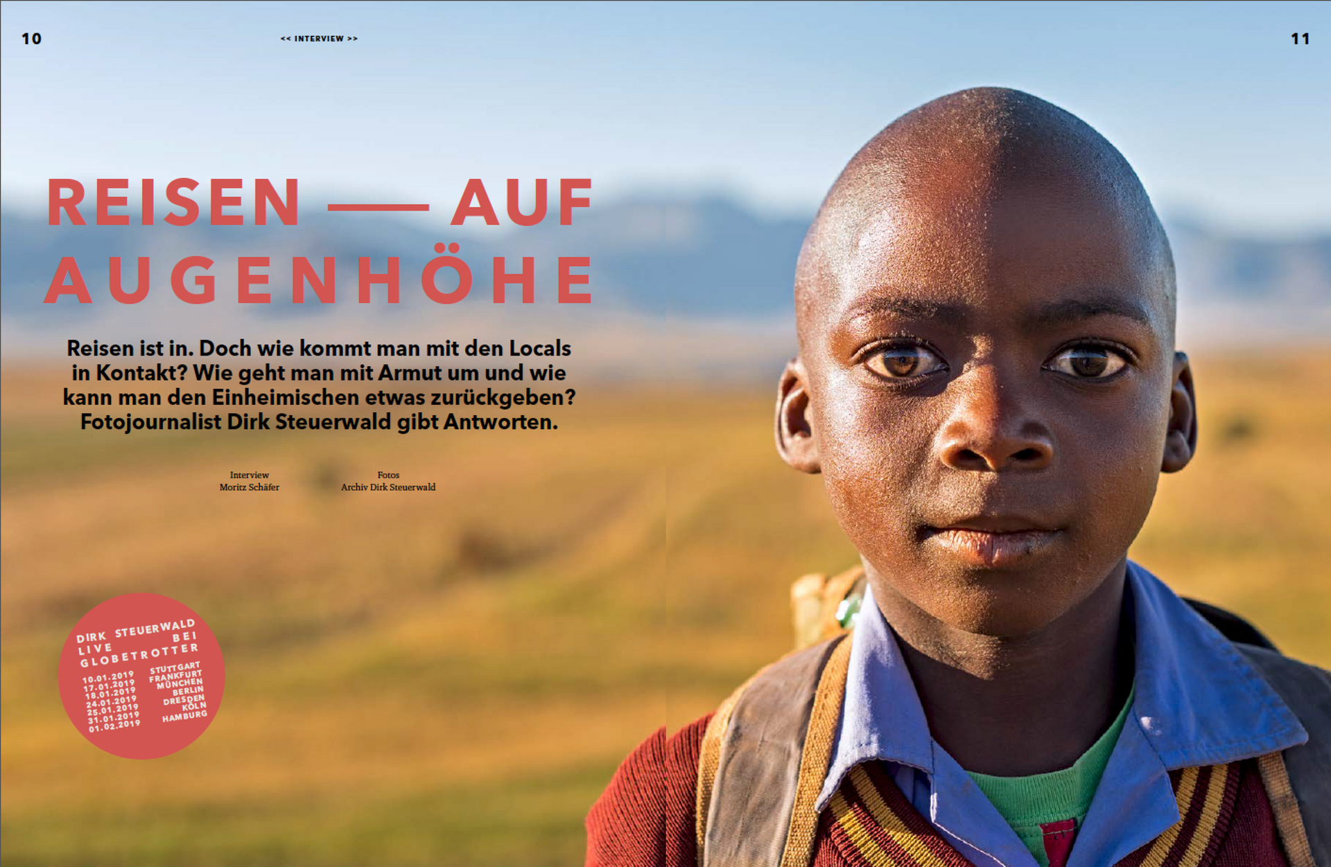 Großes Interview im Globetrotter Magazin (Winter/'18)