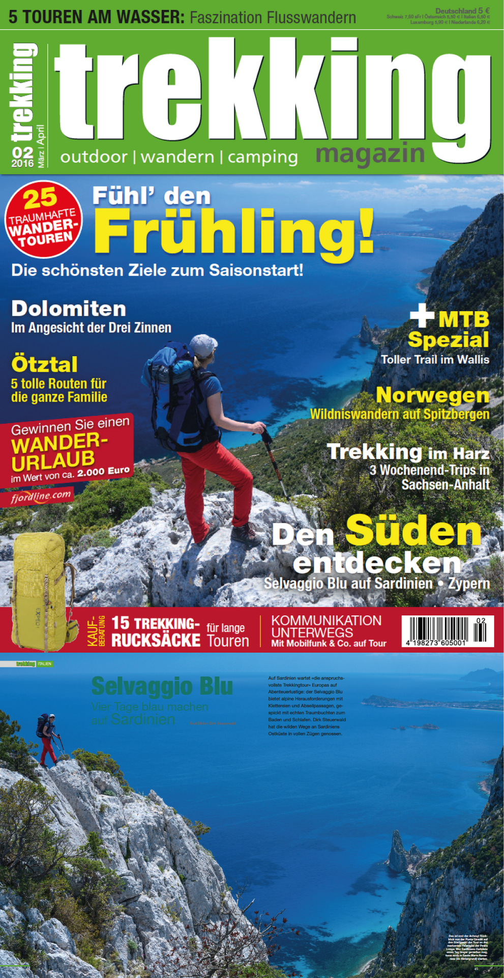Trekkingmagazin-Titelgeschichte 'Vier Tage Blau machen', samt Titelbild (3/'16)
