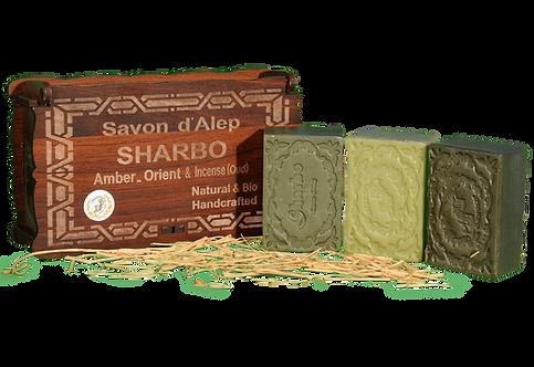 Aleppo Soap Wooden Box/Coffret en Bois 25% Laurel Oil 3 Bars of 125g
