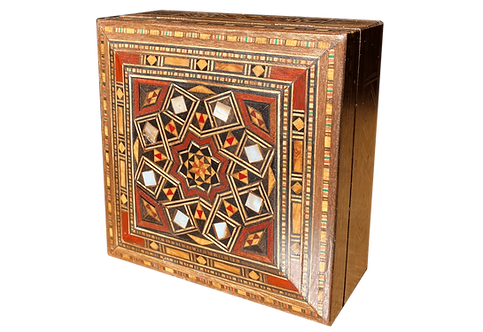Damascus Mosaic Box With 1 Incense (Oud) Bar of Aleppo Soap 125g 25% Laurel Oil