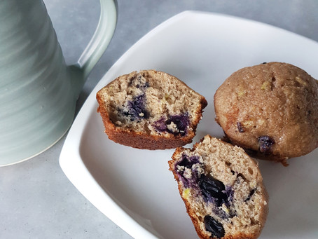 Healthy'ish Blueberry Zucchini Muffins