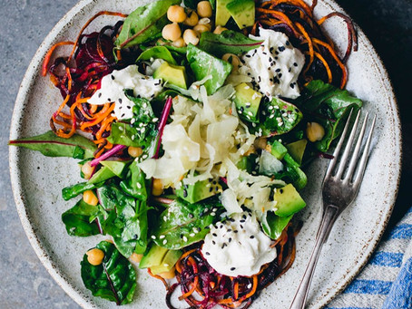 Roasted Root Tangles with Yogurt and Chickpea Salad