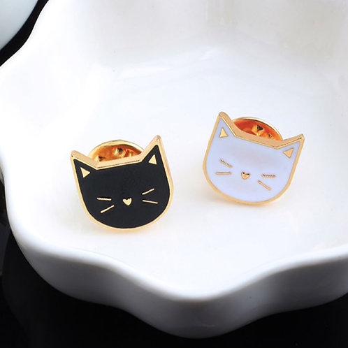 Black & White Cats Enamel Badge