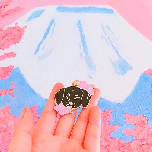 Cherry Blossom Blackie Enamel Pin