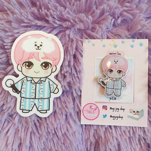 BTS Pajama Party Jin x RJ Pin and Sticker Set